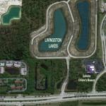 Bird's-eye view of Livingston Lakes development