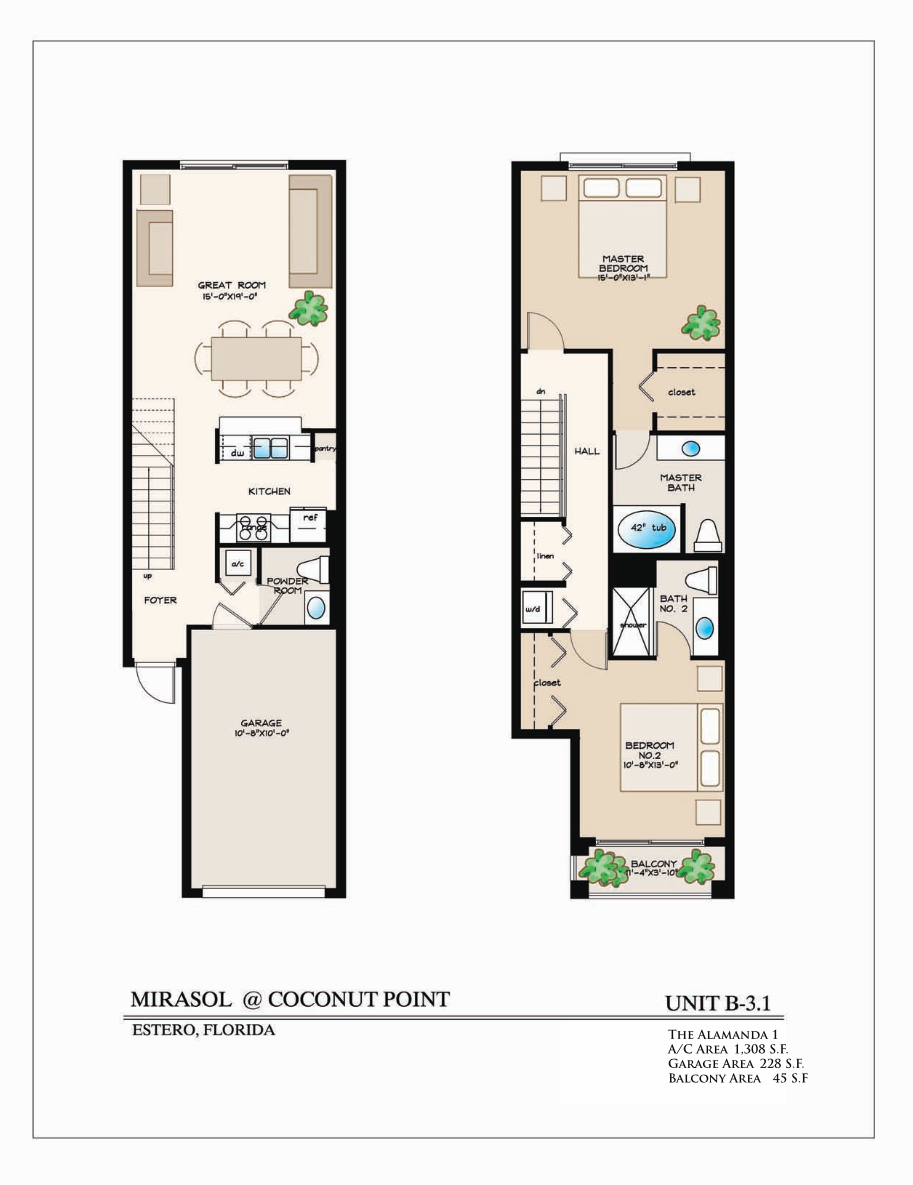 Ginger Floor Plan 1 Bedroom/1 Bathroom 910 A/C Square Feet