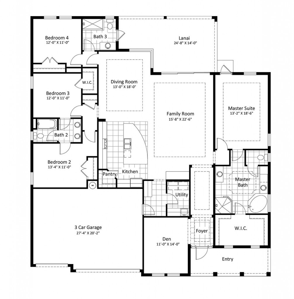 Hisbiscus-Floor-Plan, Homes For Sale In Mockingbird Crossing Naples Florida