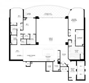 2nd Residence Floor Plan - 3 bedrooms, den, 3.5 bathrooms and 4,826 sqft of living area