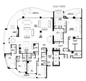 Penthouse 1 – 5 bedrooms, den, 5.5 bathrooms, 9,640 sqft of living area