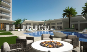 Outdoor pool and seating area