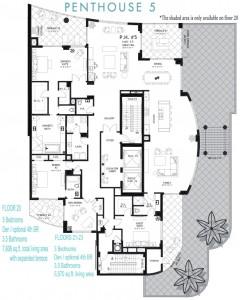 Seaglass Floor Plans (penthouse 5 floor 20 -23)