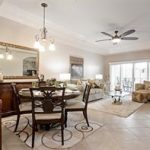 DIning and Great room with coffered ceiling in a Blue Heron Condo